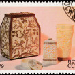 Soviet Russia Postage Stamp Carved Ivory Box Cup Container — Stock Photo