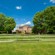 Single Family Georgian House Home Lawn Fence USA — Stock Photo
