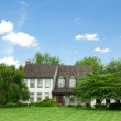 Stock Photo: SuburbSingle Family House Home Lawn Trees Tudor