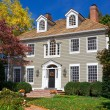 Suburban Single Family House Home Colonial Autumn — Stock Photo