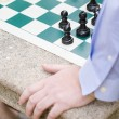 Hand, Chess Game, Board, Pieces, Table — Stock Photo