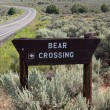 Bear Crossing Sign Road in New Mexico Sagebrush — Stock Photo