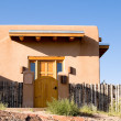 Adobe Single Family Home Fence Santa Fe New Mexico — Stock Photo