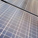 Diminishing Rows Blue Photovoltaic Solar Panels — Stock Photo