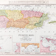 Antique Vintage Color Map of Puerto Rico — Stock Photo