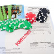 Stock Photo: Bet House Poker Chips Foreclosed Mortgage
