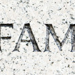 Word &quot;Infamy&quot; Carved in Gray Granite Pearl Harbor - Stock Photo