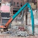 Demolition Equipment Knocking Down Building Collecting Scrap Met — Stock Photo