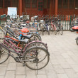 Постер, плакат: Bikes Row Bicycle Parking Lot Beijing China