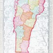 Antique Vintage Color Map of Vermont, USA — Stock Photo