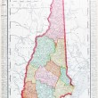 Antique Vintage Color Map of New Hampshire, USA — Stock fotografie