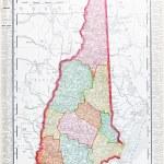 starodawny sztuka kolorową mapę z new hampshire, Stany Zjednoczone Ameryki — Zdjęcie stockowe