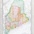 Antique Vintage Color Map of Maine, Unites States - Stockfoto