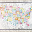 Antique Vintage Map United States America, USA — ストック写真
