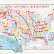 Antique Color Map of United States Expansion Growth — 图库照片