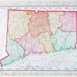 Antique Color Map of Connecticut, United States - Stock Photo