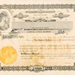 Old Stock Certificate Ohio USA Woman Star Vignette — Stock Photo