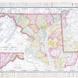 Antique Vintage Color Map Maryland Delaware, USA - Stock Photo