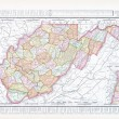 Stock Photo: Antique Map of West Virginia, WV United Sates, USA
