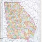 Antique Color Map of Georgia, GA United States USA — Stock Photo