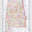 Antique Map of Alabama, AL, United States, USA — Stockfoto