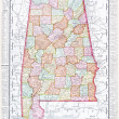 Antique Map of Alabama, AL, United States, USA — Stock Photo