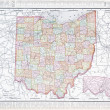 Antique Color Map of Ohio, OH, United States USA — ストック写真