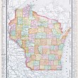 Antique Vintage Color Map of Wisconsin, USA — Stock Photo