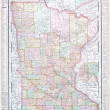 Antique Color Map Minnesota MN United States, USA — Stock fotografie
