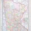Antique Color Map Minnesota MN United States, USA — Stockfoto