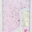 Detailed Antique Street Map New Orleans Louisiana — ストック写真