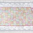 Antique Vintage Color Map of Kansas, USA — Stock fotografie