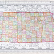 Antique Vintage Color Map of Kansas, USA — ストック写真