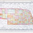 Antique Vintage Color Map of Nebraska, NB USA - Stock Photo