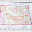 Stock Photo: Antique Vintage Color Map of North Dakota, USA