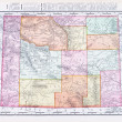 Antique Vintage Color Map of Wyoming, USA - Stock Photo