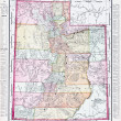 Antique Vintage Color Map of Utah, USA — 图库照片
