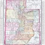 starodawny sztuka kolorową mapę z utah, Stany Zjednoczone Ameryki — Zdjęcie stockowe
