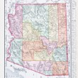 Antique Vintage Color Map of Arizona, USA — Stock Photo