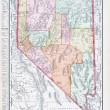 Antique Vintage Color Map of Nevada, USA — Stock Photo