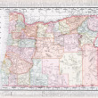 Antique Vintage Color Map of Oregon, USA — Stock fotografie