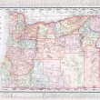 Antique Vintage Color Map of Oregon, USA - Stock Photo