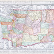 Antique Vintage Color Map of Washington State, USA — Stock Photo #7895589