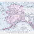 Antique Vintage Color Map of Alaska, USA — Stok fotoğraf