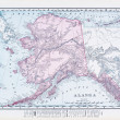 Stock Photo: Antique Vintage Color Map of Alaska, USA