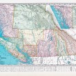 Antique Vintage Color Map British Columbia, Canada — Stock Photo