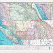 Antique Vintage Color Map British Columbia, Canada — Stock Photo #7895600