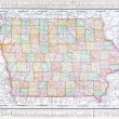 Antique Vintage Color Map of Iowa, USA - Foto Stock