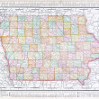 Antique Vintage Color Map of Iowa, USA - Stock Photo