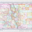 Stock Photo: Antique Color Map of Colorado, United States, USA